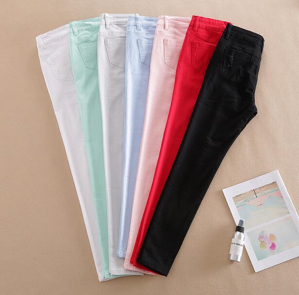 2019 New Spring And Autumn Skinny Thin Pencil Cotton Thin Women Pants Jeans Women Nine Solid Color Pants KJH1601-5