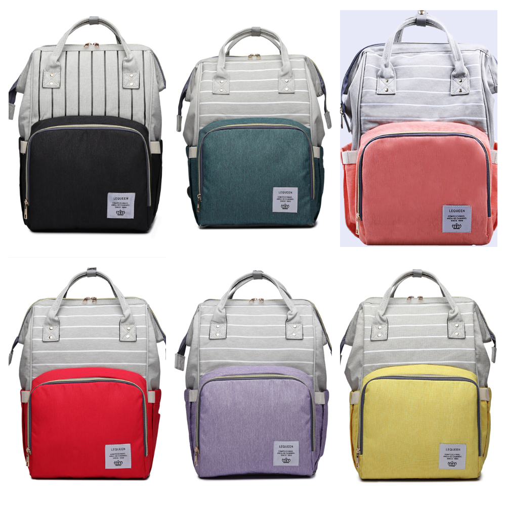 7 Colors Lequeen Multi-functional Diaper Bag Backpack Large Capacity Baby Care Nursing Mommy Bag Breathable Backpack For Baby