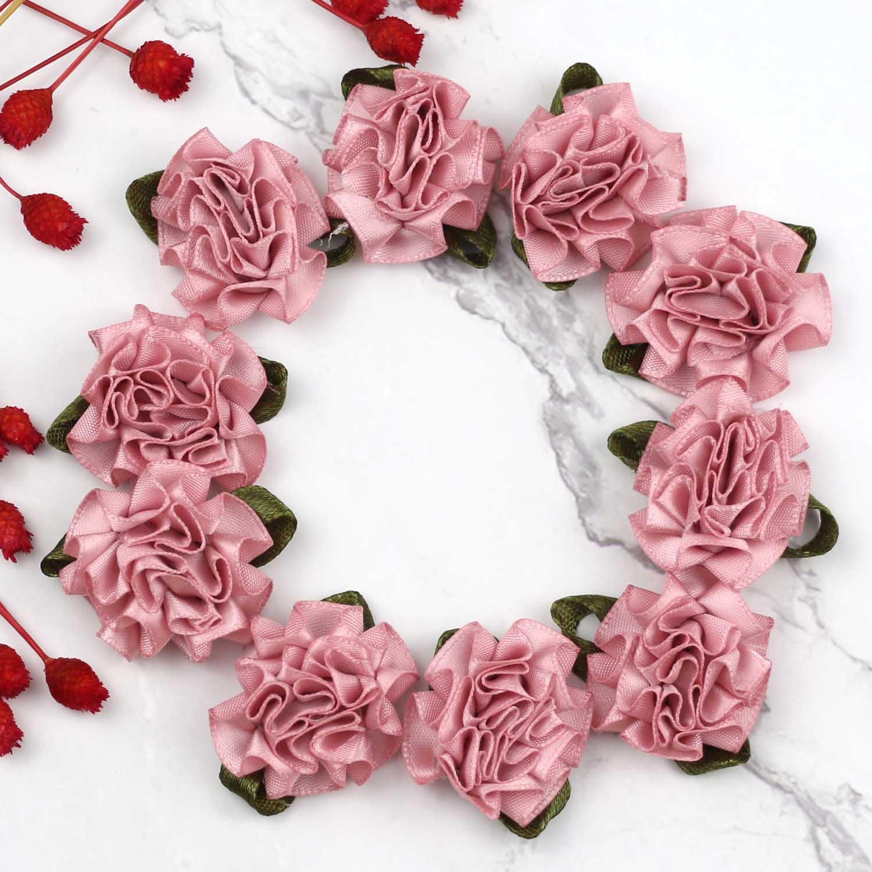 Festival Boda Apliques Satin Artificial hágalo usted mismo Artesanía Floral Capullos Rosa 10 piezas