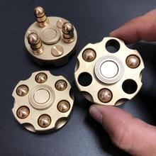 Pure copper revolver fingertip gyro bullet detachable adult decompression toy edc alloy finger rotation spiral