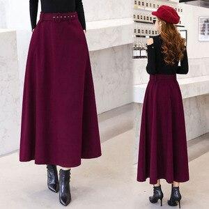 Image 4 - 2020 Winter Woolen Maxi Skirts For Women Vintage With Belt High Waist Skirt Female Casual Streetwear Long Skirt Khaki Red Black