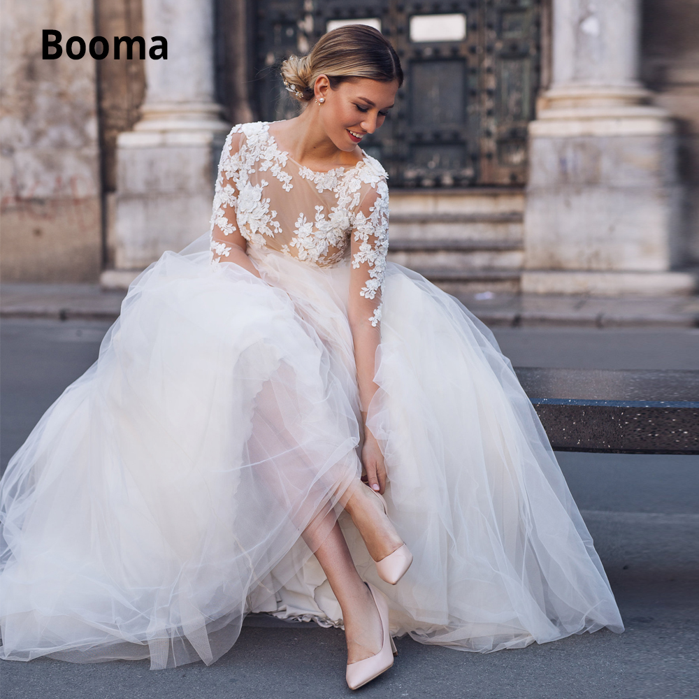 Booma Tulle Wedding Dresses Boho 2019 Illusion Long Sleeve Lace Bridal Gown Elegant Beach Wedding Gown Bohemia Plus Size