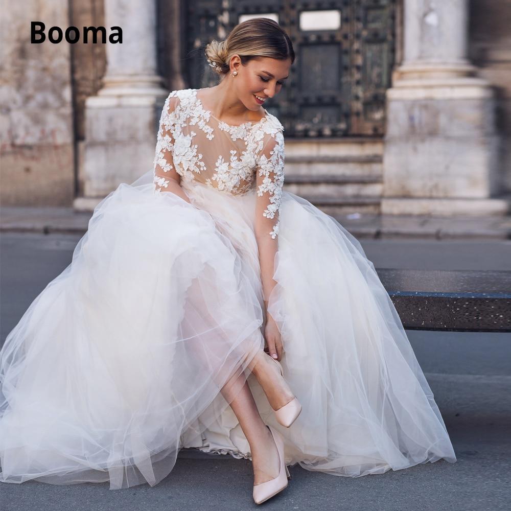 Booma Tulle Wedding Dresses Boho 2019 Illusion Long Sleeve Lace Bridal Gown Elegant Beach Wedding Gown Bohemia Plus Size
