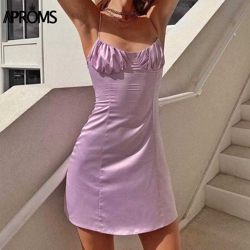 Aproms Sexy Back Lace-up Summer Mini Dress Women Vintage Pink Strap Sleeveless A-line Dresses OL Party Sundresses Vestidos 2020