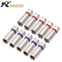 20 sztuk/partia miedzi RG6/RG59 odporne na warunki atmosferyczne F złącze kompresji RF koncentryczne złącze drutu bezpłatne lutowania Adapter czerwony/niebieski kolory