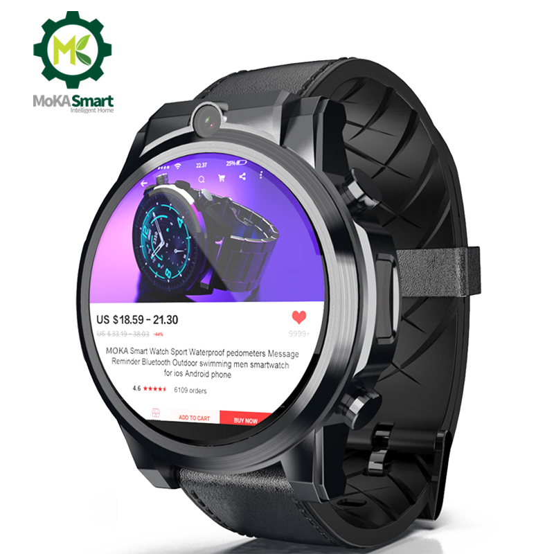 MOKA smart watch android 7.1 men Dual camera WIFI App download GPS Navigation 3GB+32GB 1.6 inch SIM card sports smartwatch 4g image