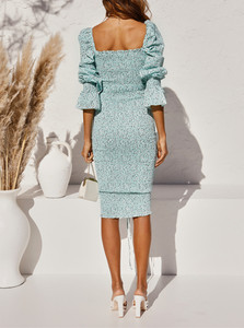 Image 3 - 2020 حزمة جديدة Hips دوت طباعة فستان بكم طويل أنيق المرأة جلد حتى مطاطا Ruched منتصف فساتين حفلات طويلة سليم صالح Vestido
