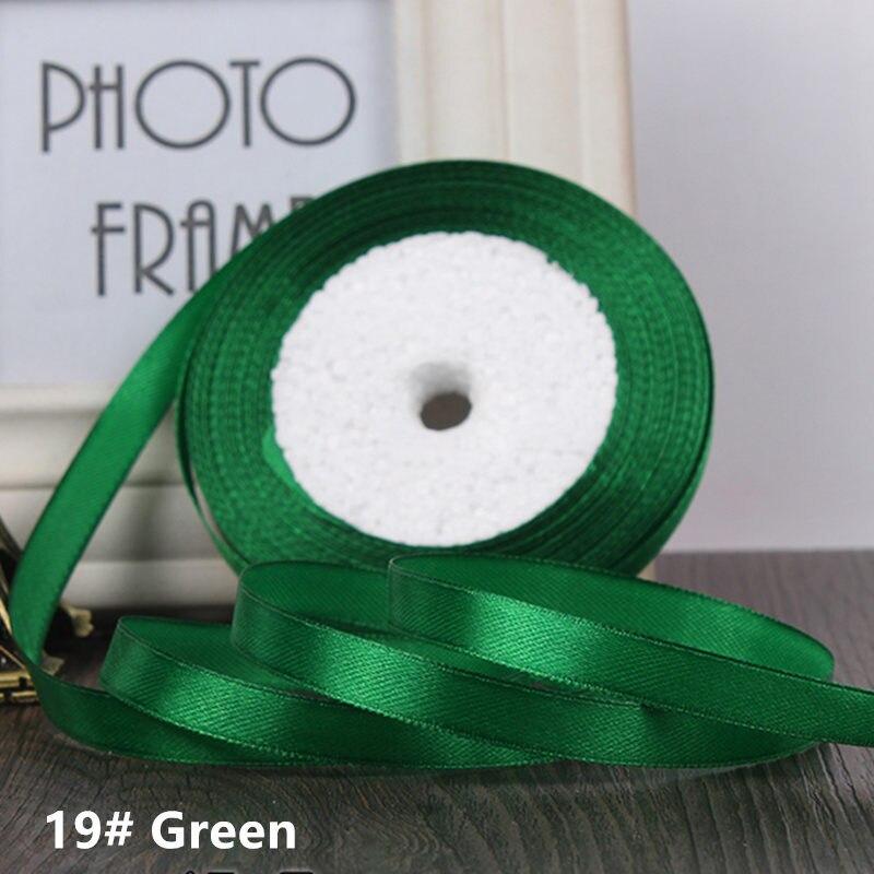25 ярдов/рулон 6 мм 10 мм 15 мм 20 мм 25 мм 40 мм 50 мм шелковые атласные ленты для рукоделия бант ручной работы подарочная упаковка вечерние свадебные декоративные - Цвет: 19 green