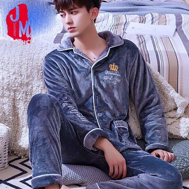 Pajama Sleepwear Winter Male Flannel Fleece Men's Solid Coral Casual