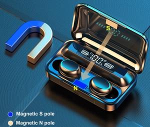 Image 2 - F9 TWS Bluetooth 5.0 scatola di ricarica per auricolari Wireless 9D Stereo sport auricolari impermeabili cuffie per ricarica smartphone