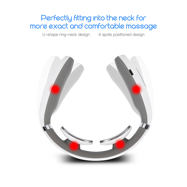 Electric Pulse Neck Massager Cervical Traction Collar Therapy Pain Relief Stimulator Guasha Acupuncture Cupping Patting Massage 4