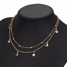 Gold Color Star Moon Pendant Necklaces Women Multi Layer Beads Clavicle Chain Chocker Necklace Bohemian Jewelry Accessories bohemian multi layer fashion star moon cross heart pendant necklace for women gold chain long necklaces jewelry christmas gift