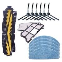 Escova de rolo x1 + filtro x 2 + pano mop x 5 + escova lateral x 6 para ilife v7s reposição kit  aspirador robótico accessorie|Peças p/ aspirador de pó| |  -