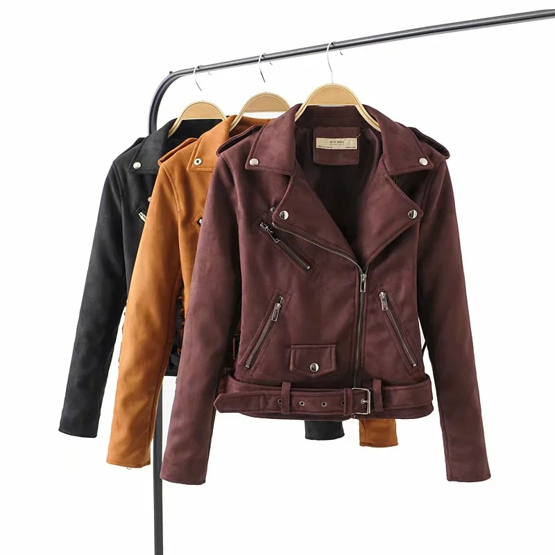 2019 and the European and American wind ladies street locomotive faux   suede     leather   jacket