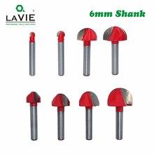 LAVIE 1pc 6mm Schaft Ball Nase Router Bit Runde Fräser für Holz CNC Radius Core Box Solide hartmetall Werkzeuge MC06000