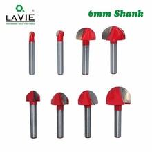 LAVIE 1pc 6mm Shank Ball Nose Router Bit okrągły frezowanie nóż do drewna CNC promień Core pudełko solidne narzędzia z węglika MC06000