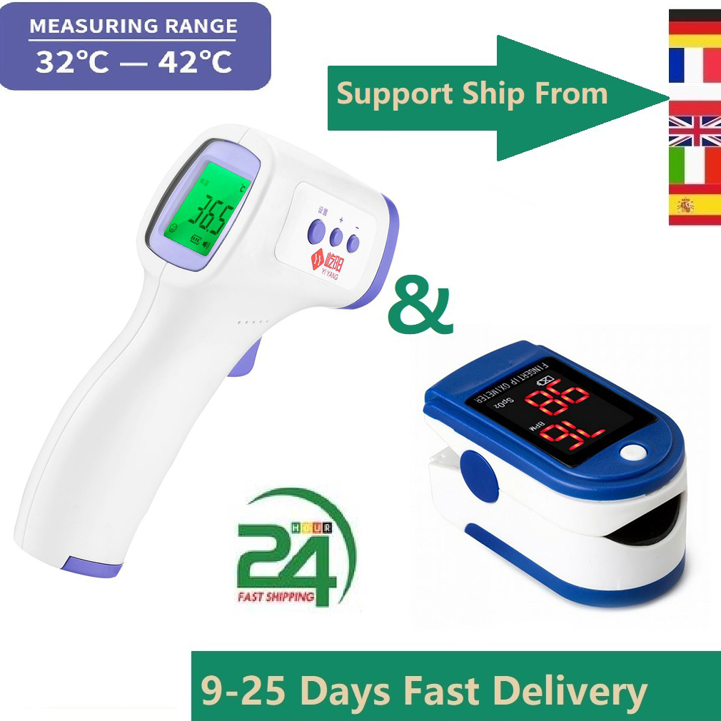 Non-Contact Frontal Temperature Gun Instant Mearsuring Led Display Memory Functions Automatic Shutdown Fingertip Pulse Oximeter