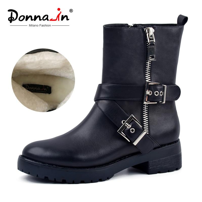 Donna-em couro genuíno meados de bezerro botas femininas baixo calcanhar forro de lã sapatos de neve inverno 2019 moda metálico zíper botas de equitação