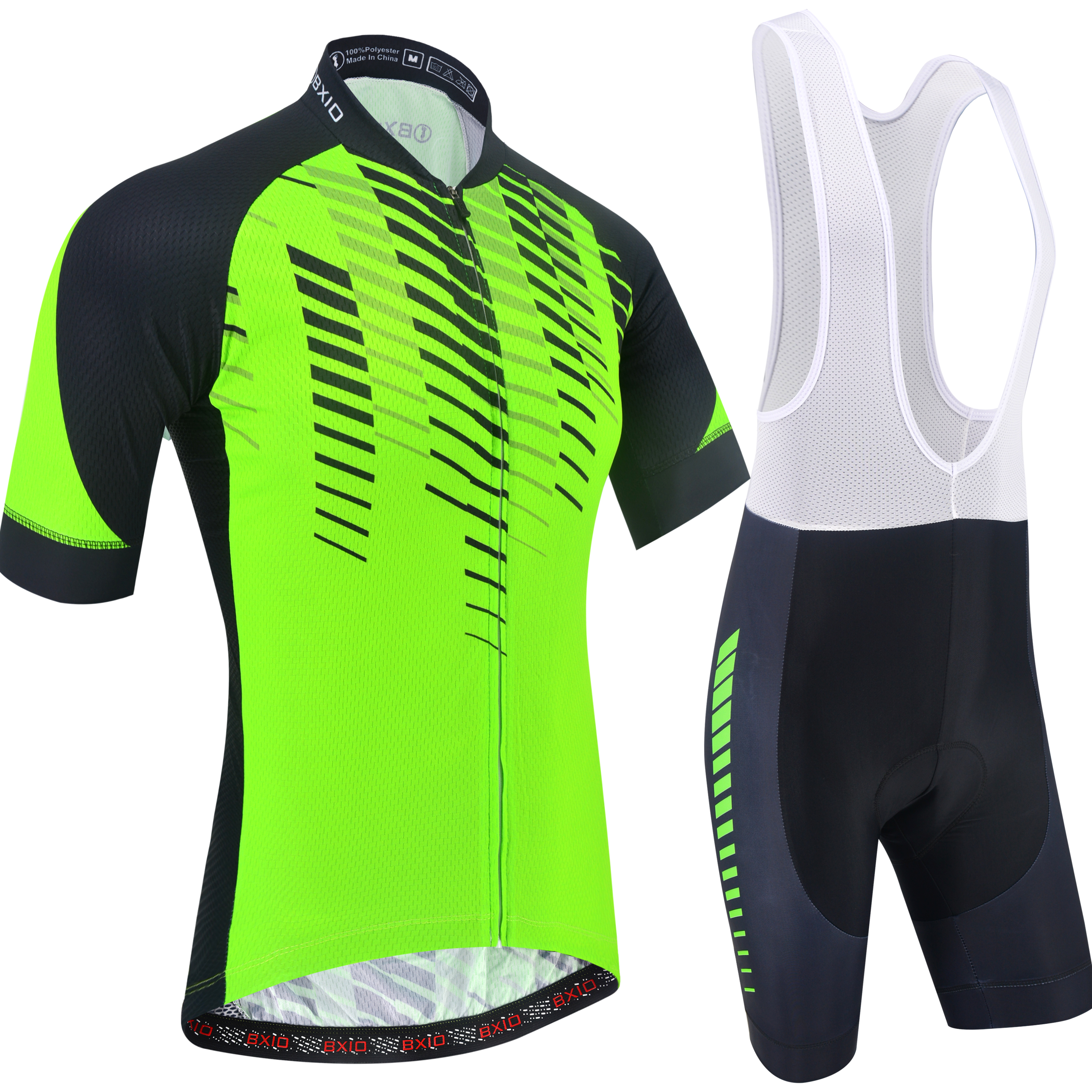 BXIO Cycling Jerseys Breathable Short Sleeve Bike Jersey with 3D Gel Pad Bib Shorts for Pro Team Cycling Sport