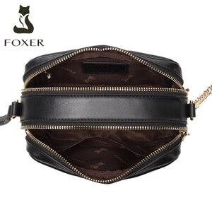 Image 3 - Foxer split couro senhora moda bolsa de ombro casual feminina clássico marca saco grande capacidade do sexo feminino cruz corpo sacos pequena bolsa
