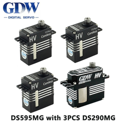GDW Digital Metal Servo DS595MG with 3PCS DS290MG Servo HV Medium Helicopter Parts for 450 450L X3 380 420