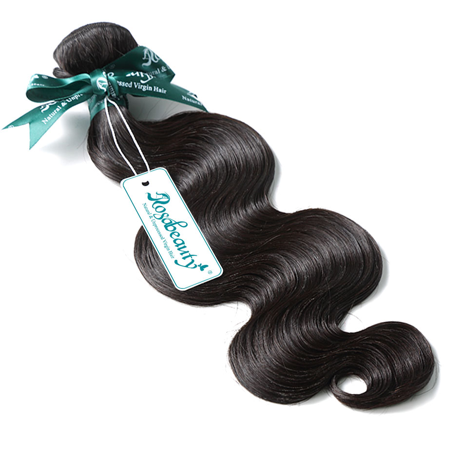 RosaBeauty Body Wave Brazilian Hair Weave Bundles 3 4 Bundles Natural Black Remy Human Hair Extension 8- 28 30 Inch Double Drawn
