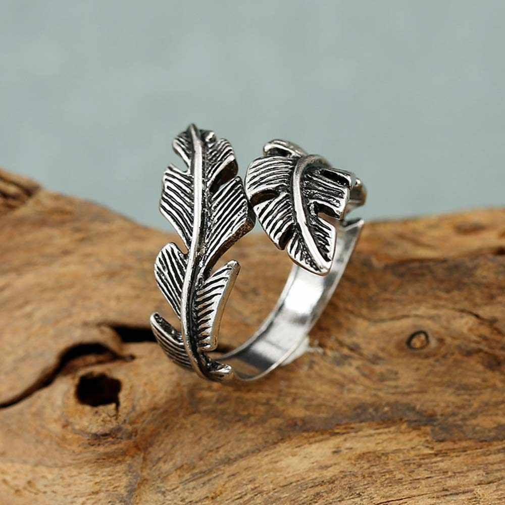 2020 bijoux moda anéis de penas para mulher boho ajustável antigo anéis anillos joyas de plata
