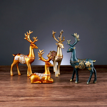Lucky Deer Ornaments European Creative Home Office Living Room TV Cabinet Wine Decorations Porch Resin Furnishings Animal Crafts недорого