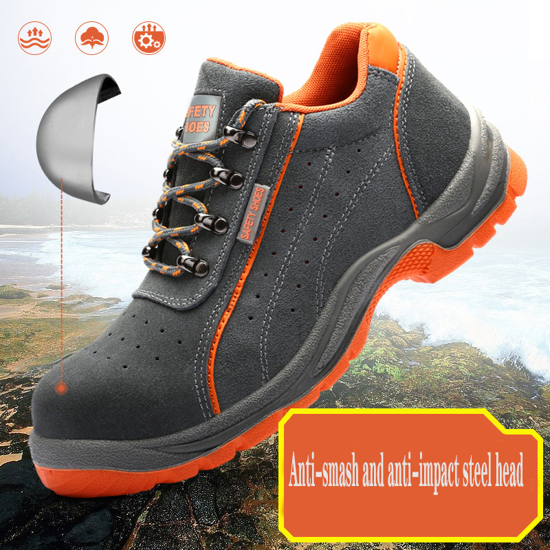 Labor Shoes 2020 Men's Steel Head Anti-smashing Anti-stab Anti-slip Welding Electric Welding Tendon Work Shoes