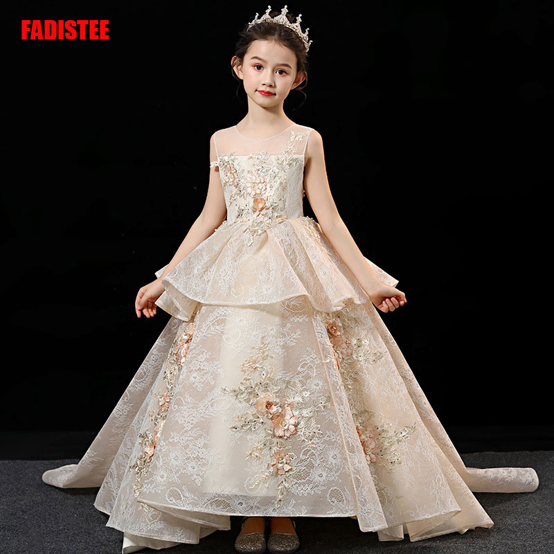 New Arrival  Pretty Flower Girl Dresses Appliques Lace Baby Girl Dress Beading Crystal Sweet Dress For Wedding Party