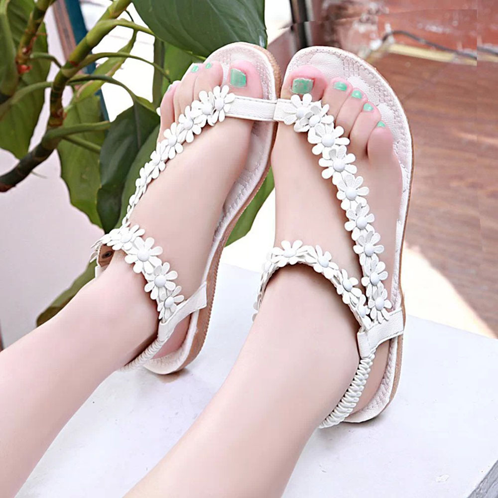 Sandals Boho Flats Flip-Flops Flowers Shoes Woman White Summer Womens Mujer