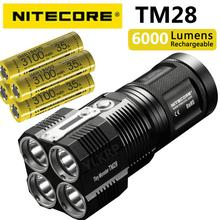 NITECORE TM28 4 * CREE XHP35 היי 6000LM קרן מרחק 655M LED פנס עם מטען ו 4pcs 18650 3100mAh סוללות ליתיום