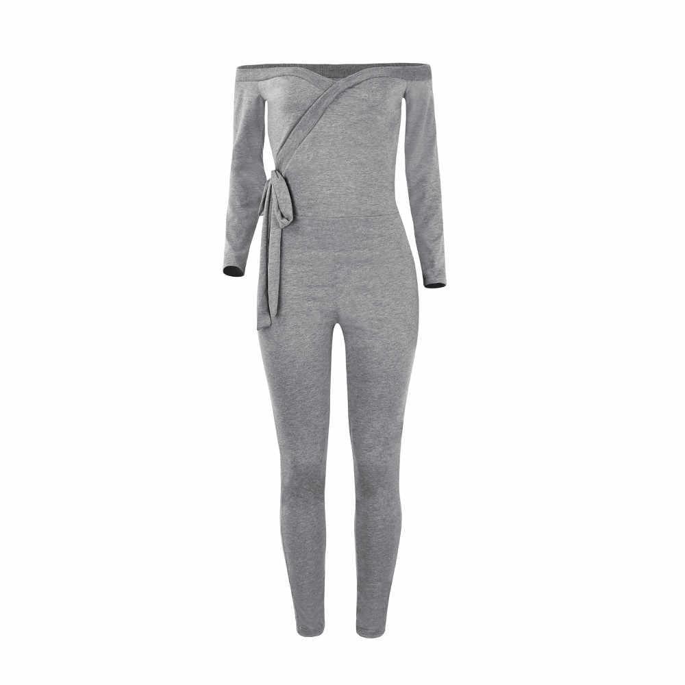 ผู้หญิงผอม Jumpsuit Elegant สีทึบแขนยาวลึก V คอปิดไหล่ SEXY Bodysuit overol mujer 2020 ใหม่ร้อน E