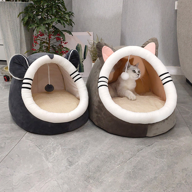 Pet Cat Bed Indoor Kitty House Cute animal Warm Small for cats Dogs Nest Collapsible Cat Cave Cute Sleeping Mats Winter Products 2