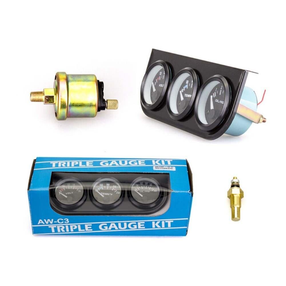 52mm 3In1 Volt Meter +water Temp Gauge +Oil Pressure Gauge Kit Car Meter Volt Meter Water Temperature Gauge Triple Tachometer