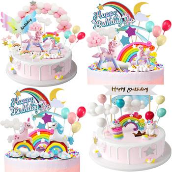 Jednorożec ozdoba na wierzch tortu dziewczyna dziecko urodziny dekoracje na tort urodzinowy chmury tęcza tanie i dobre opinie CN (pochodzenie) Tak ( 50 sztuk) FOLIA ALUMINIOWA przyjęcie urodzinowe unicorn