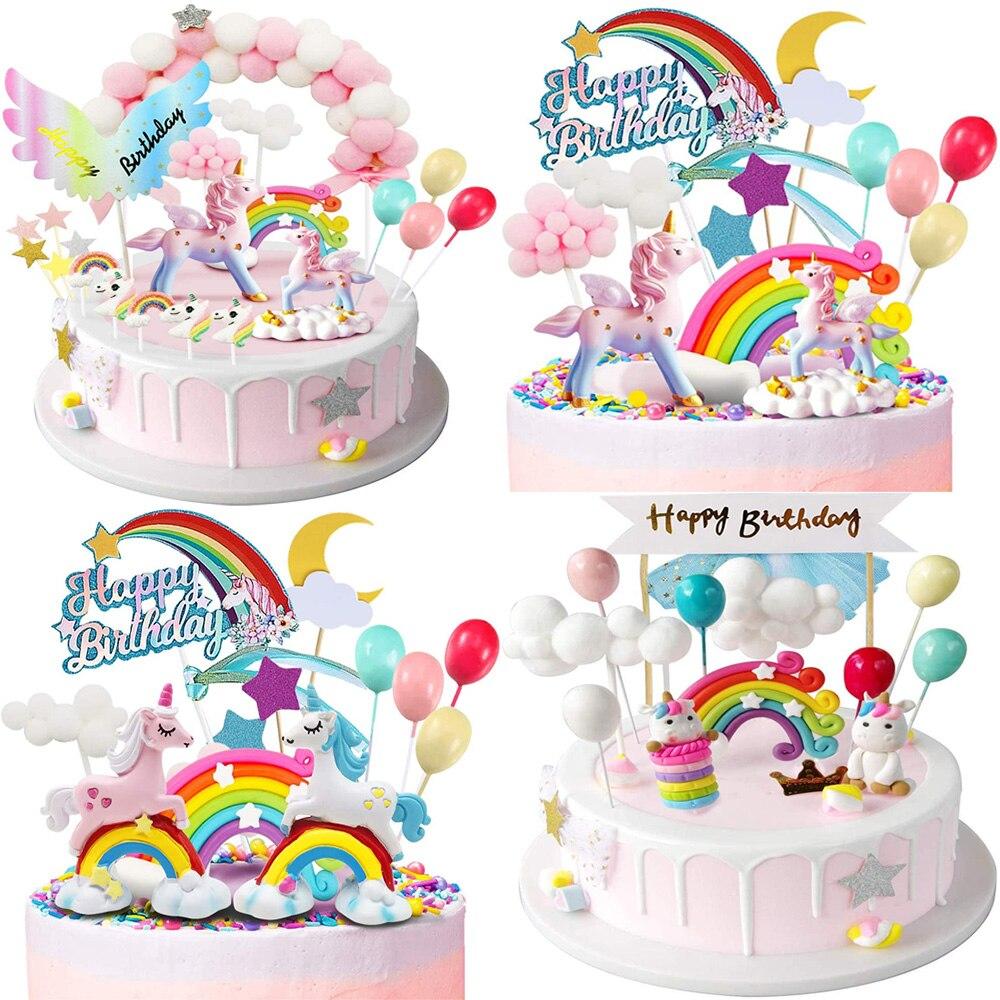 Топпер для торта в виде единорога, украшение для торта на день рождения для девочек, Радуга