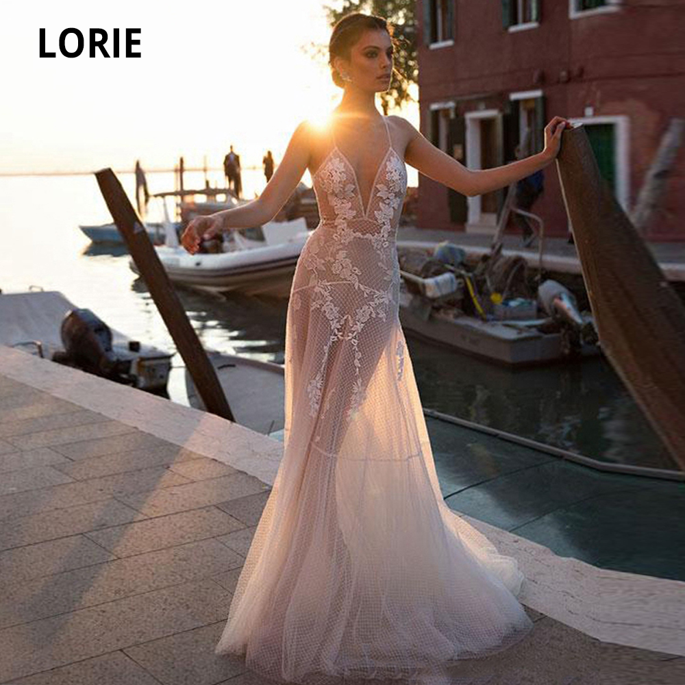 LORIE Elegant Lace Appliques Wedding Dresses Boho See Through Tulle Bridal Gown Plus Size Wedding Gown Custom Made Party Dresses