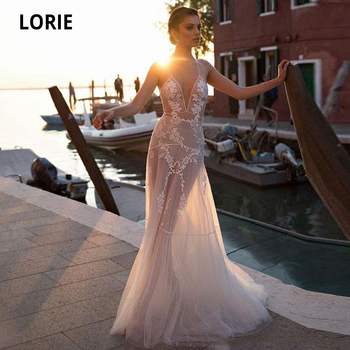 LORIE Elegant Lace Appliques Wedding Dresses Boho See Through Tulle Bridal Gown Plus Size Wedding Gown Custom Made Party Dresses wedding dresses boho sexy backless soft tulle lace beach bridal dress custom made a line wedding gown plus size custom made