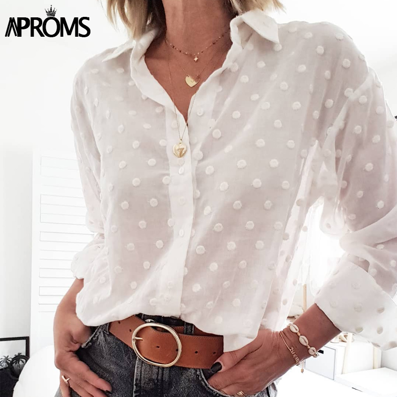 Aproms Vintage Polka Dot Tassel White Blouses Shirts Women 2020 Long Sleeve Beach Tunic Elegant Chiffon Shirt Casual Female Tops