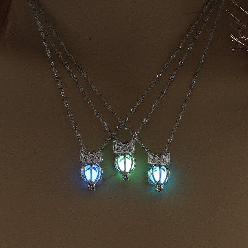 Винтажное светящееся в темноте ожерелье ювелирное изделие с Серебристая сова образный медальон светящийся камень кулон ожерелье для унисе...