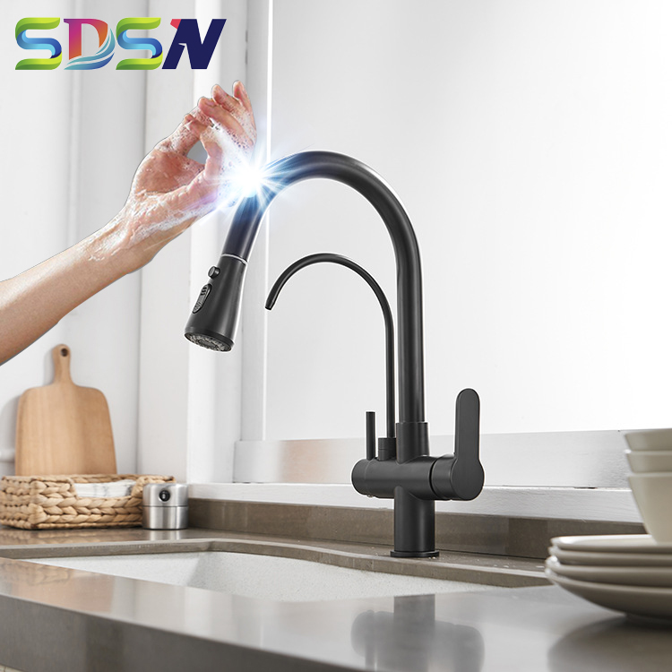 Filter Kitchen Faucet SDSN Pull Down Touch Kitchen Faucets Quality Brass Sensor Kitchen Filter Faucet Touch Kitchen Mixer Tap