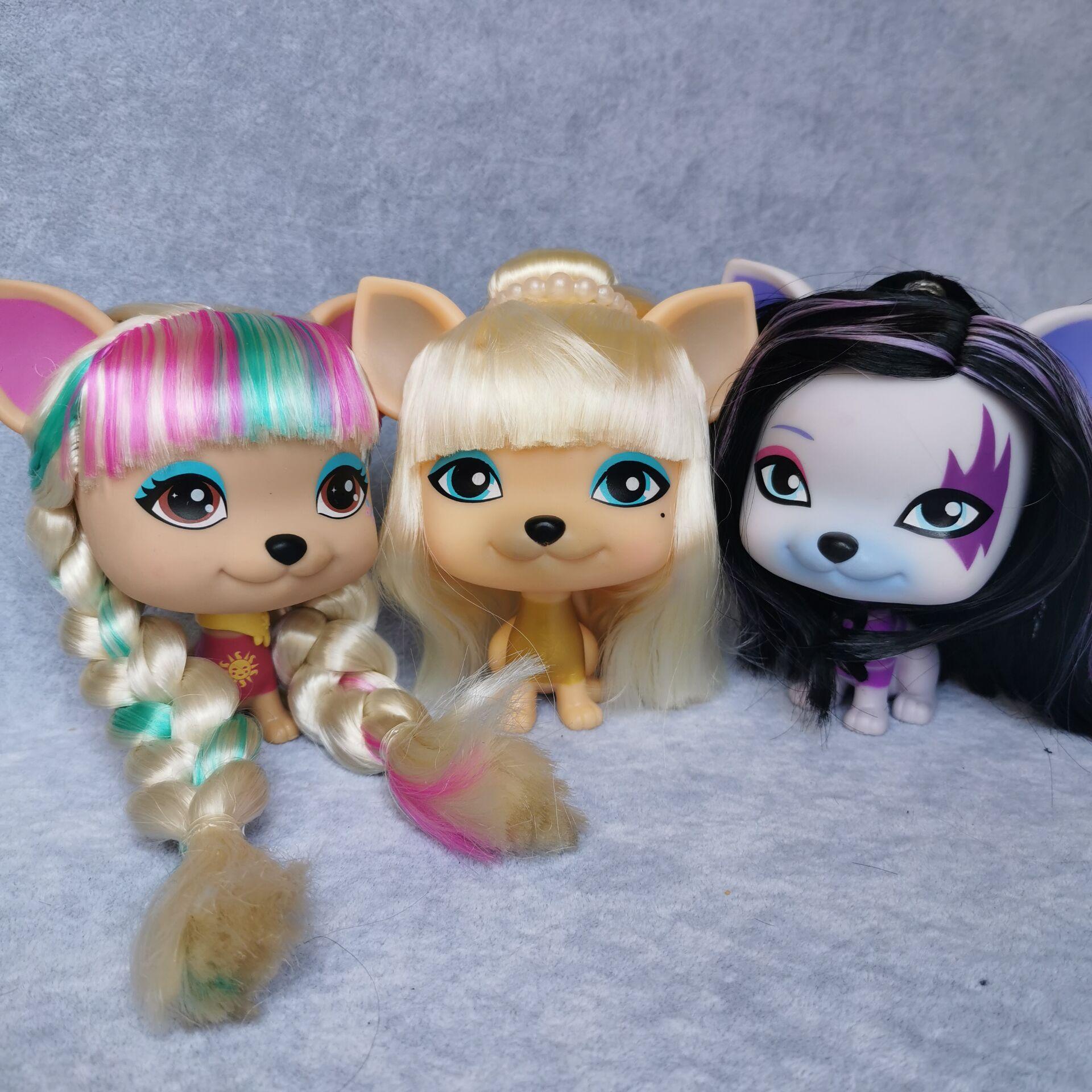 Adorável bonecas lool pet amor vip cão com figura de cabelo brinquedos cão filhote de cachorro boneca coleção presente do miúdo