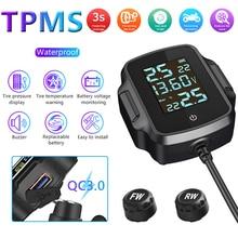 Sistema di monitoraggio della pressione dei pneumatici per moto TPMS per moto sistema di allarme della temperatura dei pneumatici con caricatore USB QC 3.0 per Tablet telefono