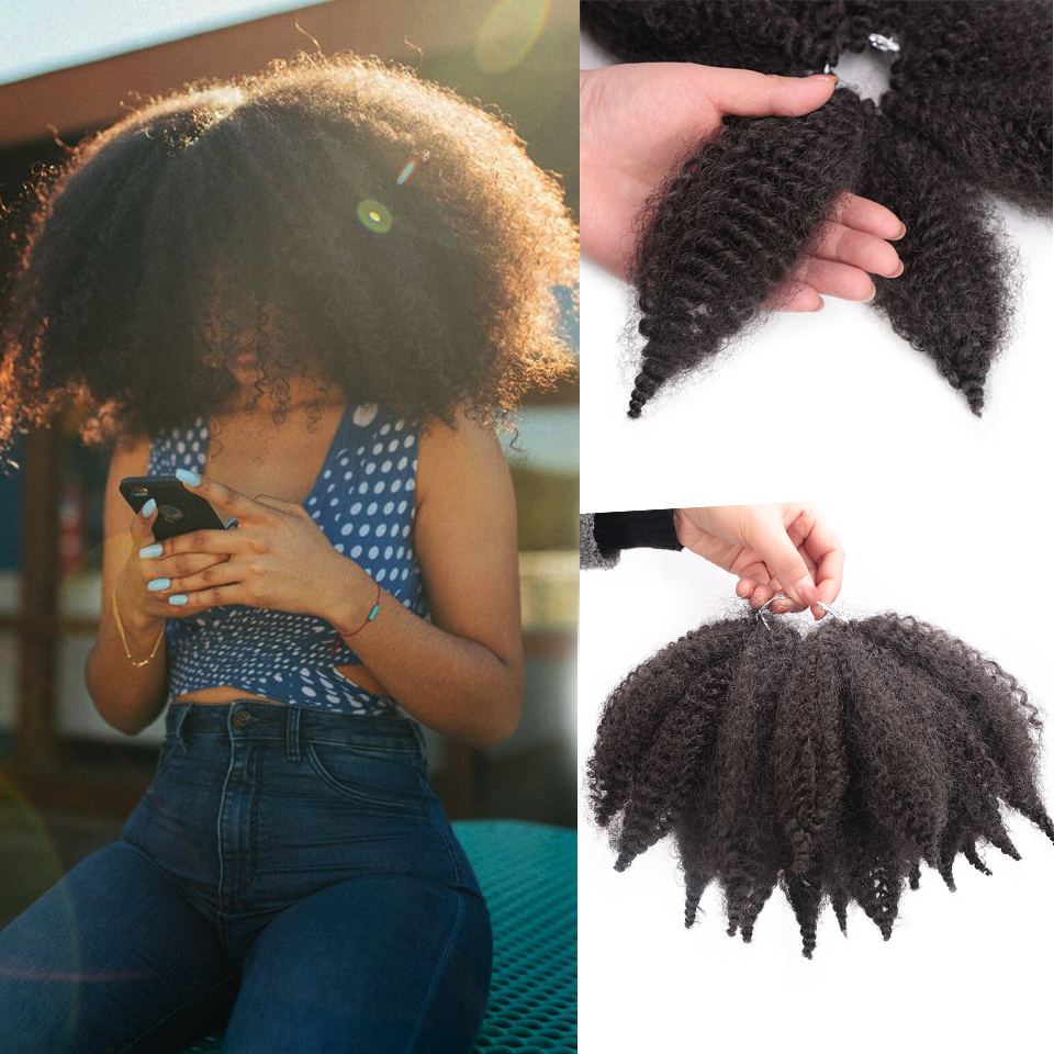 Spring Sunshine 8'' Crochet Marley Braids Black Hair Soft Afro Twist Synthetic Braiding Hair Extensions For Black Woman