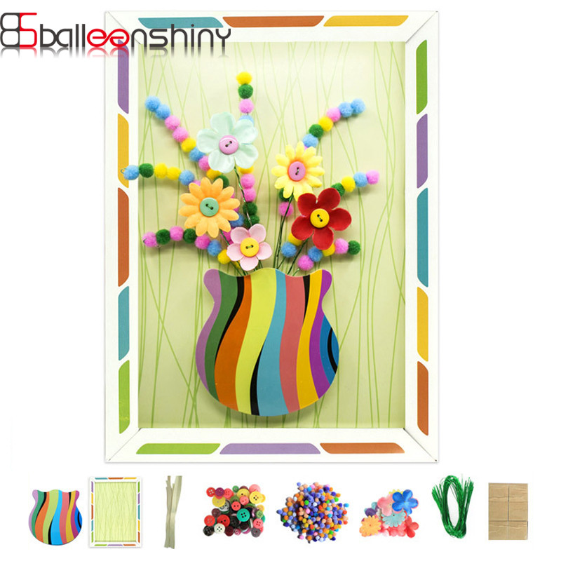 BalleenShiny Kids Puzzle Toys Set Crafts DIY Plush Ball Stickers Toy Flower Arrangement Kids Educational Toys For Children Gifts