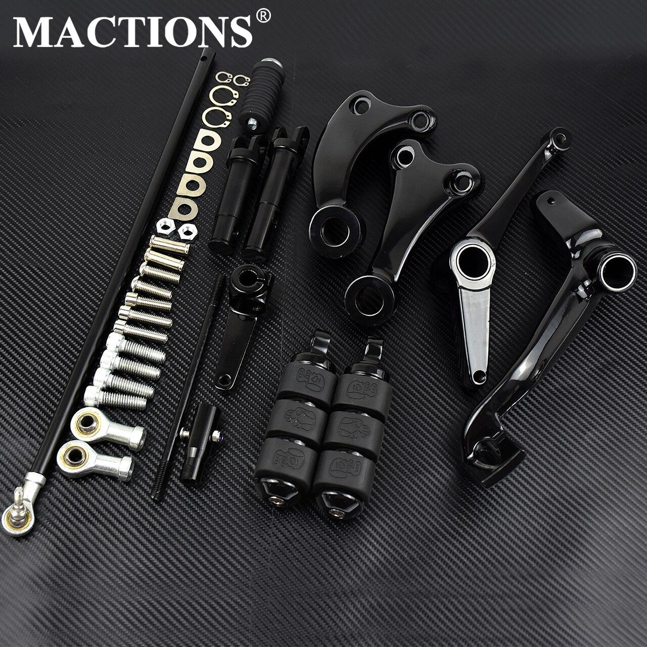 Мотоцикл черный/хром передний контроль полный комплект колышки и рычаги и связи для Harley Sportster XL 883 1200 91-03 04-13 14-2020