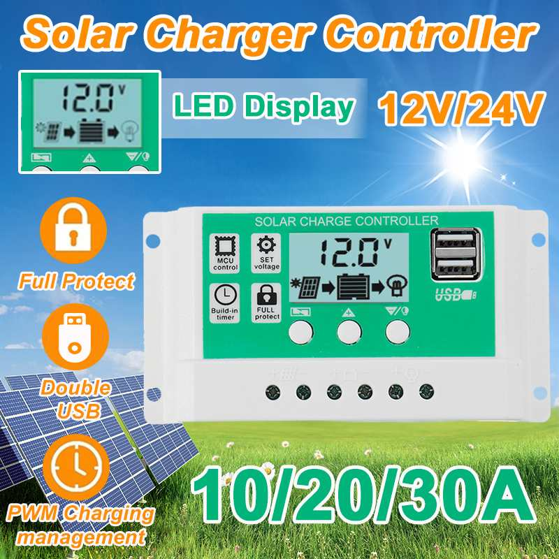 10A 20A 30A LCD Dual USB Solar Charge Controller 12V 24V Auto PWM 5V Output Solar Cell Panel Regulator Home Battery Charger