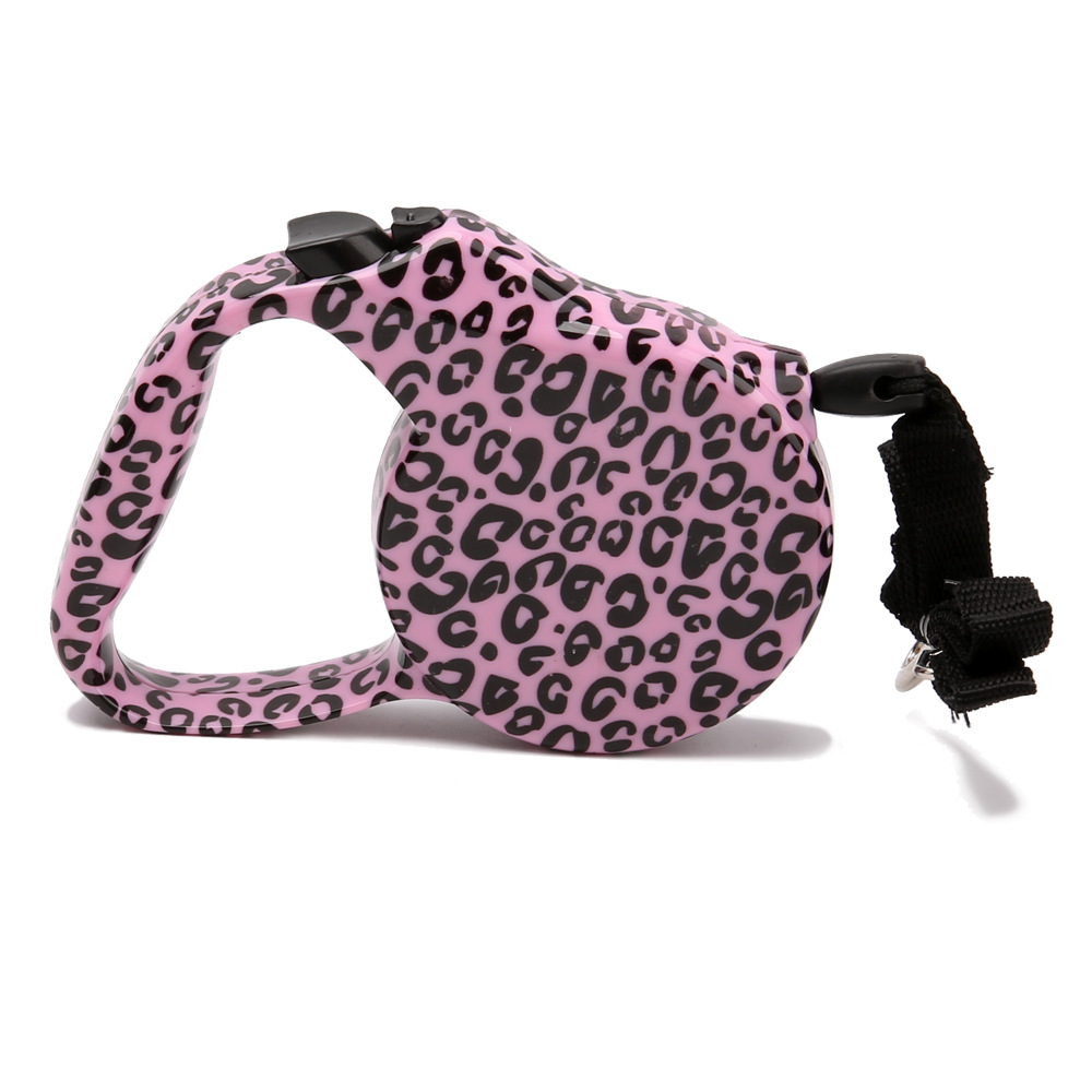 3m Pink Printing Pet Leashing Device Automatic Stretching Dog Traction Belt Hot Selling Pet Supplies
