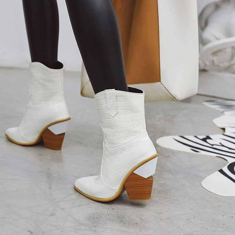 ASUMER artı boyutu 34-43 yeni kadın kabartmalı batı çizmeler kalın yüksek topuklu sonbahar kış çizmeler moda yarım çizmeler kadınlar için